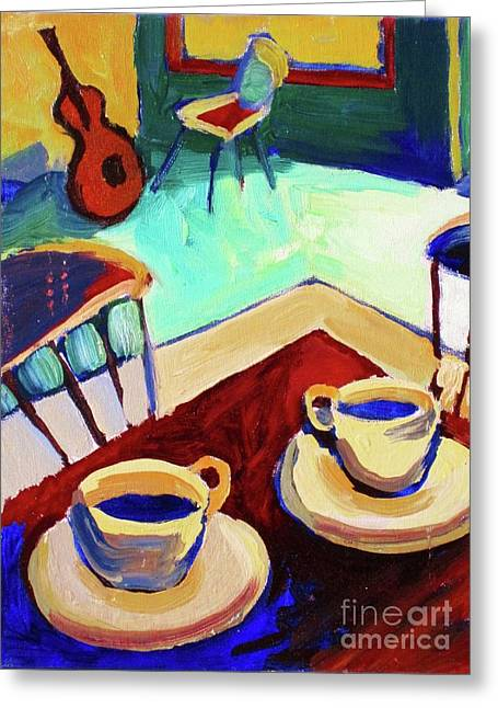Frederick Luff Greeting Cards - Twilight Coffee Cafe Greeting Card by Frederick  Luff