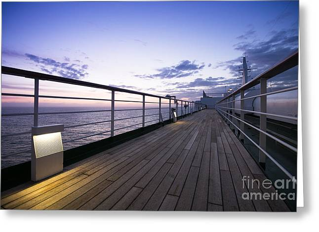 Blue And Purple Sea Greeting Cards - Twilight Deck Greeting Card by Anne Gilbert