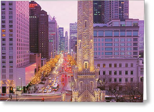 Holiday Decoration Greeting Cards - Twilight, Downtown, City Scene, Loop Greeting Card by Panoramic Images