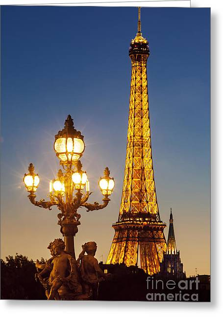 Night Lamp Greeting Cards - Twilight Eiffel Greeting Card by Brian Jannsen