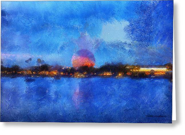 World Showcase Lagoon Greeting Cards - Twilight Epcot World Showcase Lagoon WDW 02 Photo Art Greeting Card by Thomas Woolworth