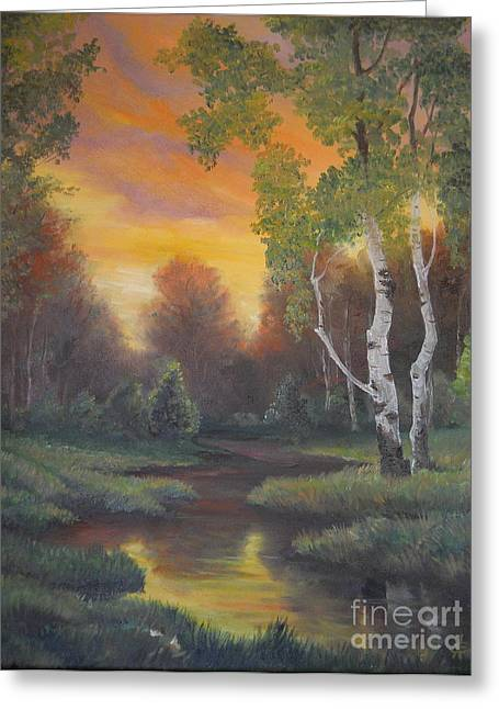 Landscape Framed Prints Greeting Cards - Twilight Fall  Greeting Card by Sorin Apostolescu