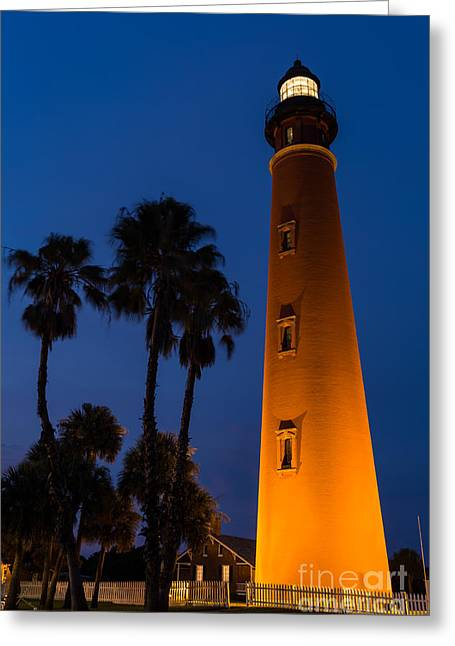 Beach At Night Greeting Cards - Twilight falls over Ponce de Leon Lighthouse Daytona Beach Florida Greeting Card by Dawna  Moore Photography