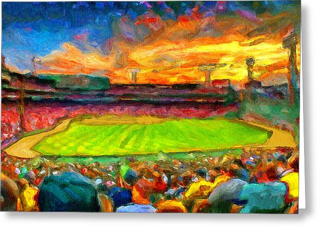 Fenway Park Paintings Greeting Cards - Twilight Fenway Park Greeting Card by John Farr