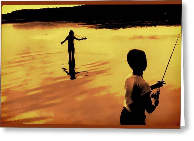 Twilight Fishing Greeting Card by John Hansen