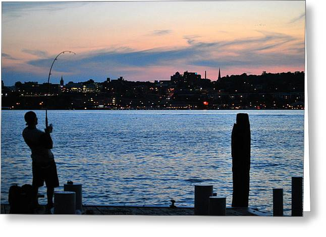 New York Evening Post Greeting Cards - Twilight Fishing Greeting Card by Kurt Von Dietsch