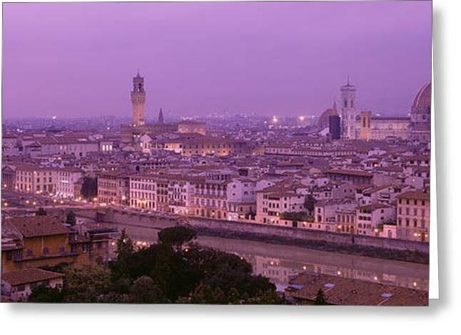 City Lights Greeting Cards - Twilight, Florence, Italy Greeting Card by Panoramic Images