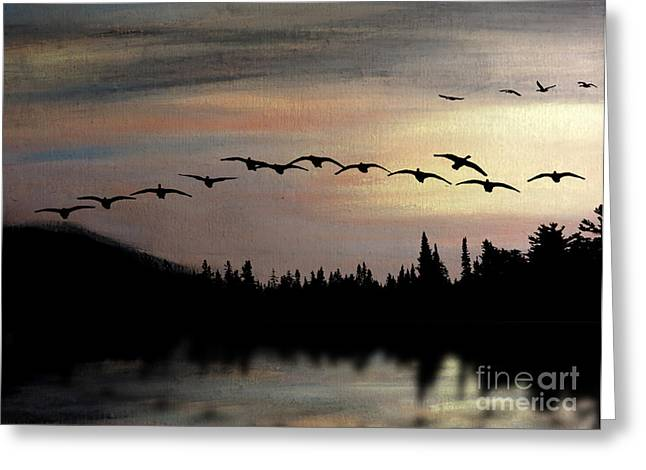 Evening Scenes Pastels Greeting Cards - Twilight Glide Greeting Card by R Kyllo