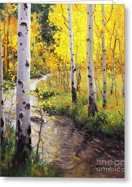 National Paintings Greeting Cards - Twilight Glow Over Aspen Greeting Card by Gary Kim