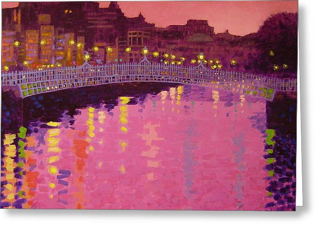 Metal Art Greeting Cards - Twilight - Ha Penny Bridge Dublin Greeting Card by John  Nolan