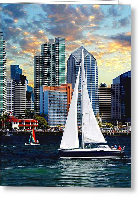 Sailing At Night Greeting Cards - Twilight Harbor Curise1 Greeting Card by Ronald Chambers