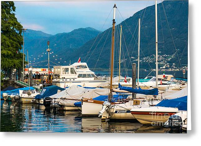 Swiss Landscape Greeting Cards - Twilight Harbor Greeting Card by Ning Mosberger-Tang