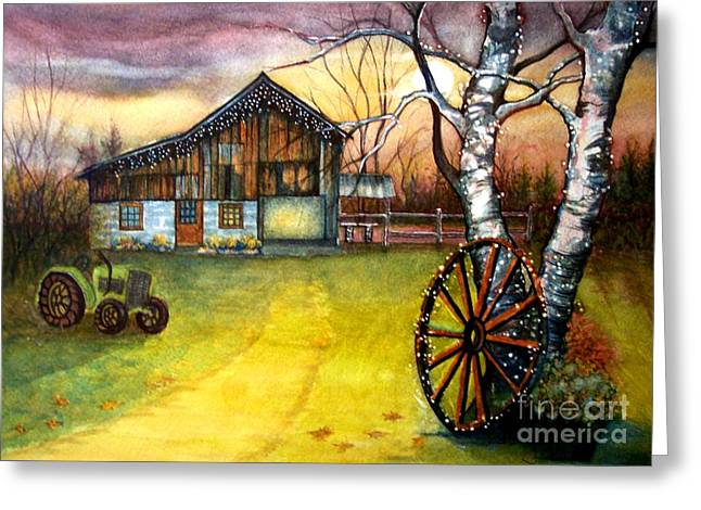 Autumn In The Country Greeting Cards - Twilight hour Greeting Card by Janine Riley