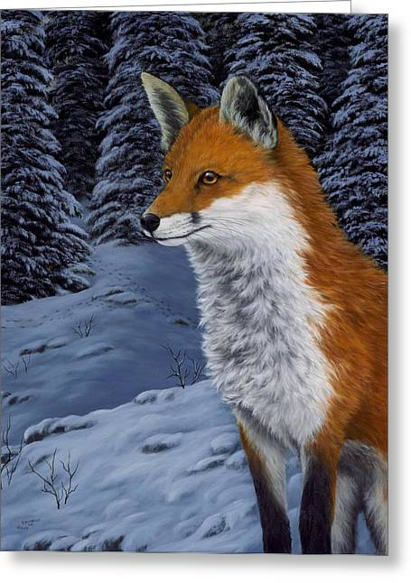 Nature Scene Paintings Greeting Cards - Twilight Hunter Greeting Card by Rick Bainbridge