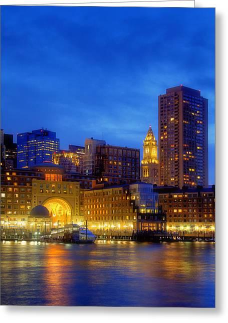 Fan Pier Greeting Cards - Twilight in Boston Greeting Card by Joann Vitali