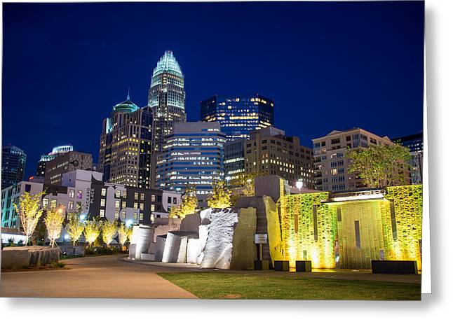 Charlotte Framed Photography Greeting Cards - Twilight in Charlotte Greeting Card by Serge Skiba
