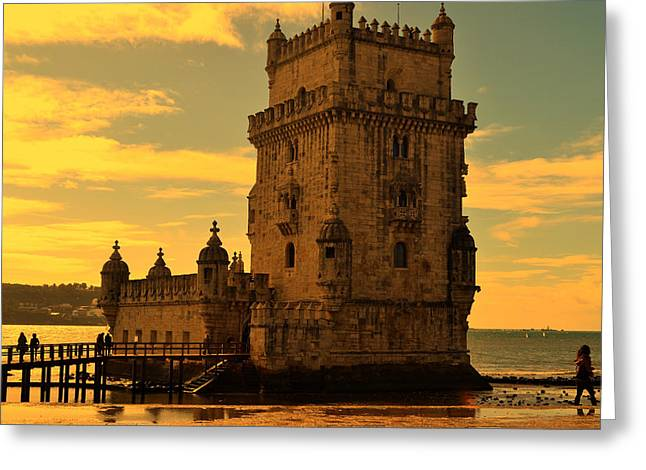 Ocean. Reflection Greeting Cards - Twilight in Lisbon Greeting Card by Mountain Dreams