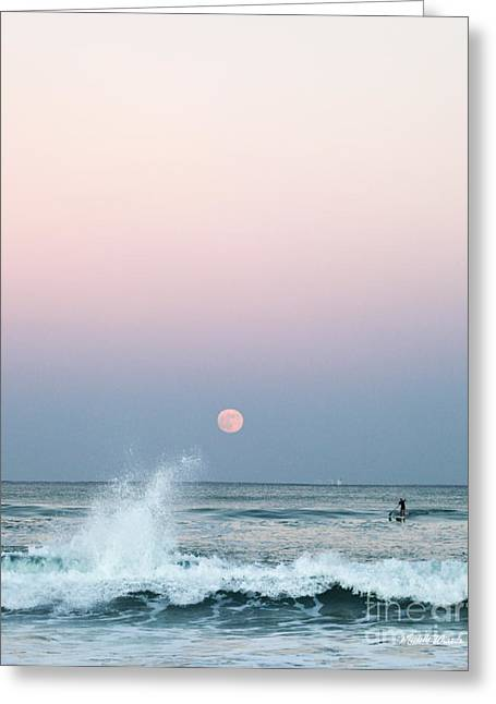 Sea Moon Full Moon Greeting Cards - Twilight in Rose Greeting Card by Michelle Wiarda