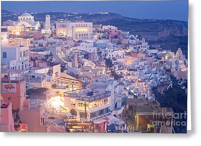 Evening Scenes Greeting Cards - Twilight in Santorini Greeting Card by Aiolos Greek Collections