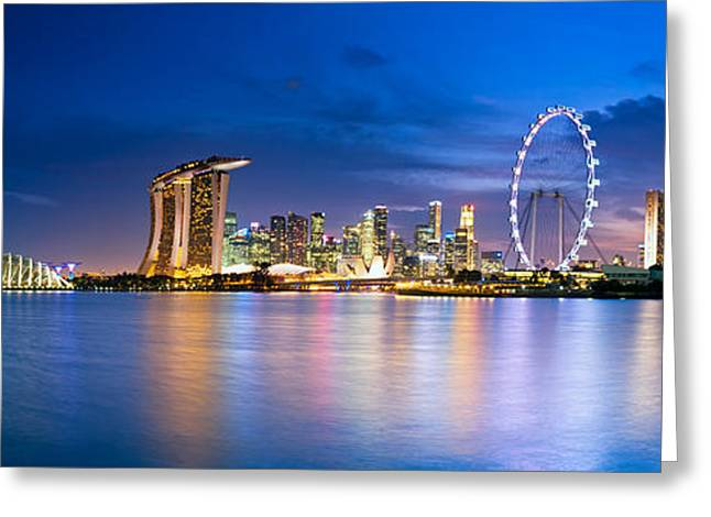 Buildings By The Sea Photographs Greeting Cards - Twilight in Singapore Greeting Card by Ulrich Schade