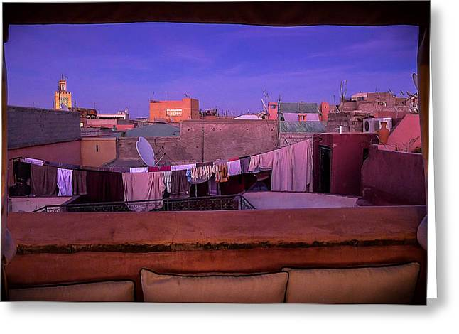 Marrakech Greeting Cards - Twilight in the Medina Greeting Card by Marion McCristall