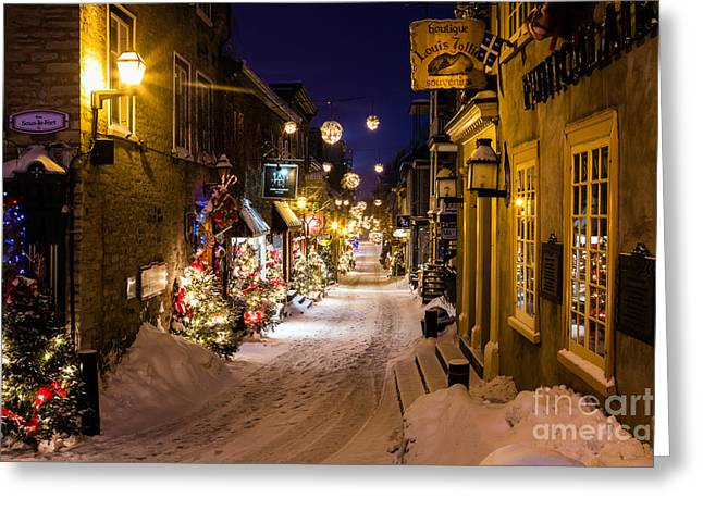 Quartier Greeting Cards - Twilight in the Petit Champlain Rue du Petit Champlain Lower Town Quebec City Canada Greeting Card by Dawna  Moore Photography