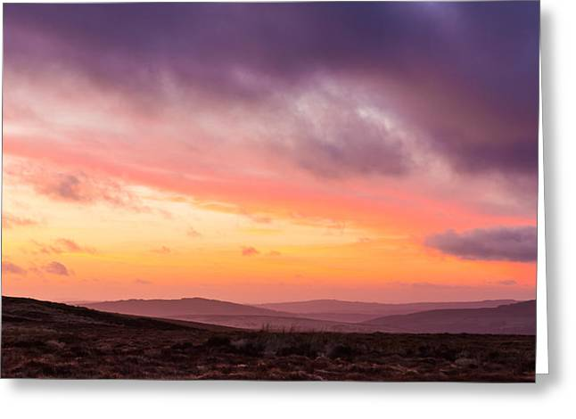 Heathland Greeting Cards - Twilight in the Wicklow Mountains Greeting Card by Semmick Photo
