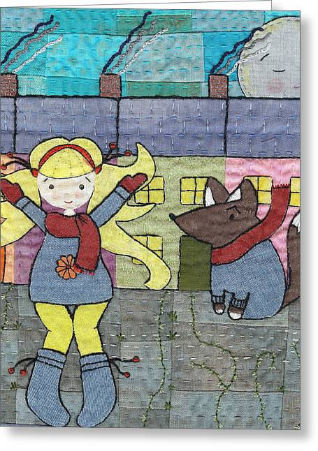 Whimsical Tapestries - Textiles Greeting Cards - Twilight Greeting Card by Julie Bull