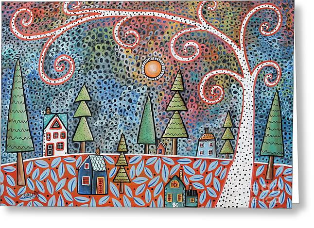 Folk Art Landscapes Greeting Cards - Twilight Greeting Card by Karla Gerard
