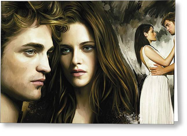 Twilight  Kristen Stewart And Robert Pattinson Artwork 1 Greeting Card by Sheraz A