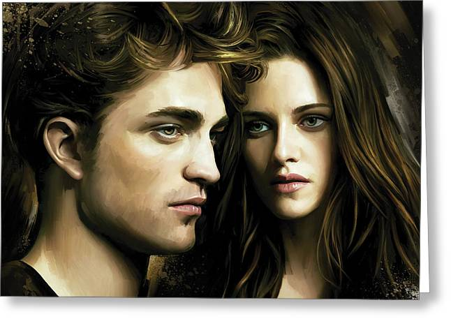 Twilight  Kristen Stewart And Robert Pattinson Artwork 4 Greeting Card by Sheraz A
