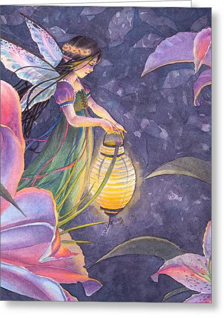Fairies Greeting Cards - Twilight Lilies Greeting Card by Sara Burrier