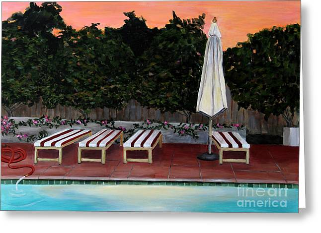Chaise Paintings Greeting Cards - Twilight Greeting Card by Linda Queally