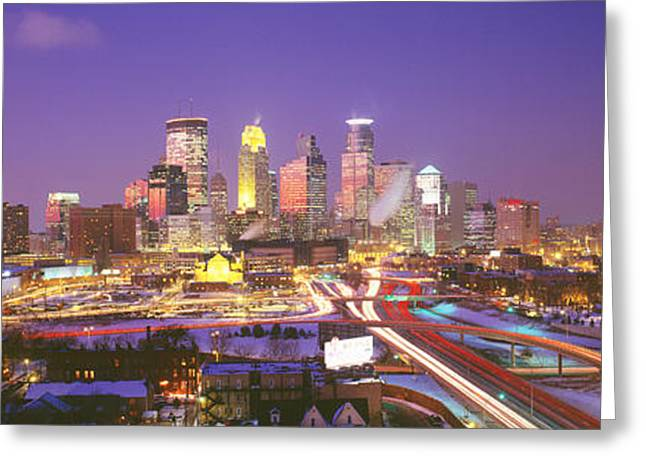 Headlight Greeting Cards - Twilight, Minneapolis, Mn, Usa Greeting Card by Panoramic Images