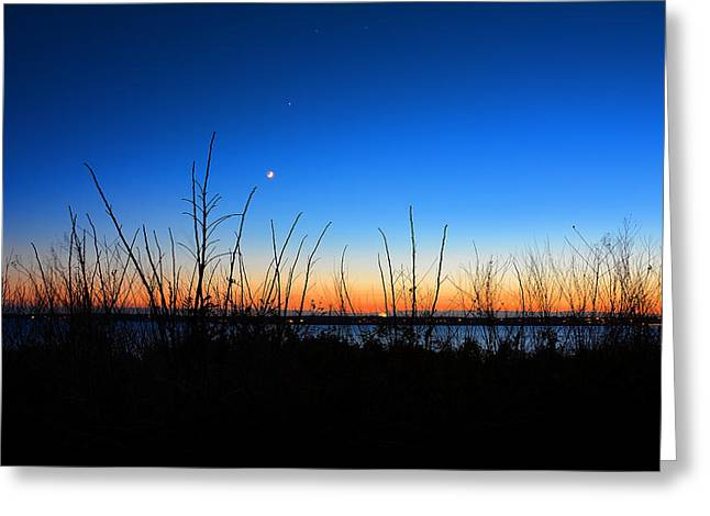 Blue And Orange Greeting Cards - Twilight Moment Greeting Card by Lourry Legarde