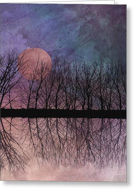 Artowrk Greeting Cards - Twilight Moon  Greeting Card by Ann Powell