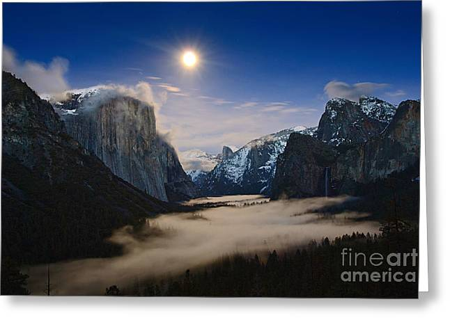 Winter Night Greeting Cards - Twilight - Moonrise over Yosemite National Park. Greeting Card by Jamie Pham