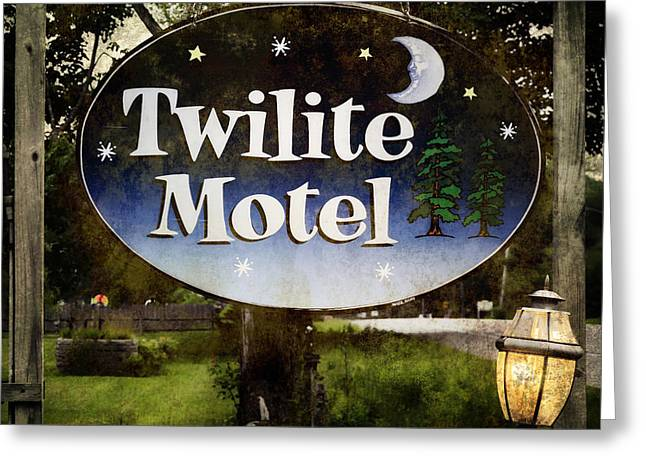 Road Travel Greeting Cards - Twilight Motel Greeting Card by Joan Carroll