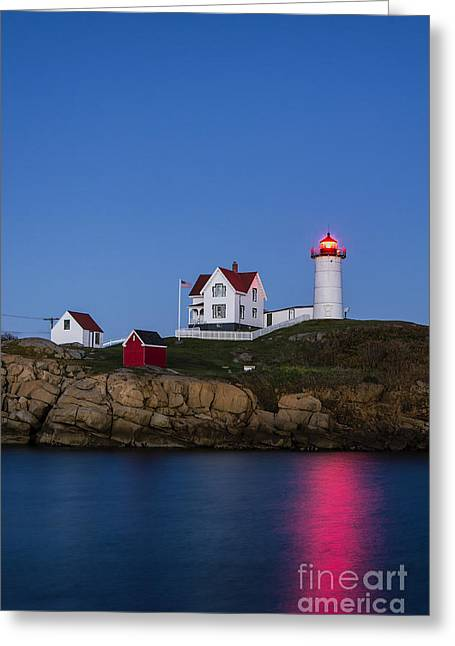 Keepers House Greeting Cards - Twilight Nubble Lighthouse Greeting Card by John Greim