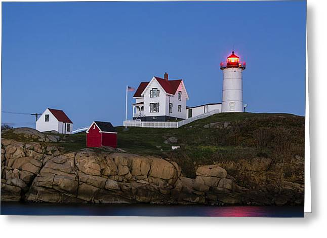 Twilight Nubble Lighthouse Greeting Card by John Greim