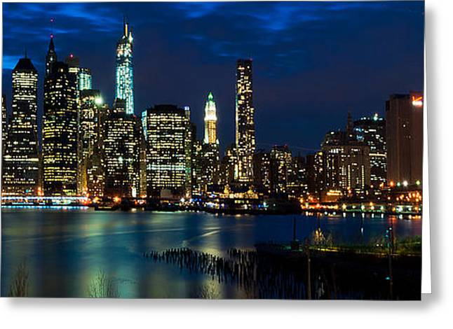 Nikon D90 Greeting Cards - Twilight NYC Panorama Greeting Card by Mitchell R Grosky