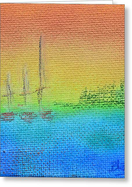 Sailboat Art Mixed Media Greeting Cards - Twilight On Evergreen Bay Greeting Card by Donna Blackhall
