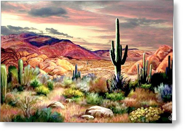 This Is It. Greeting Cards - Twilight on the Desert Greeting Card by Ronald Chambers