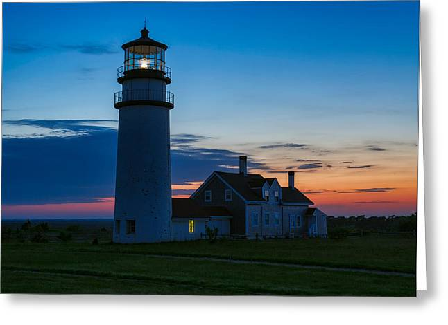 Truro Greeting Cards - Twilight over Highland Light Greeting Card by Michael Blanchette