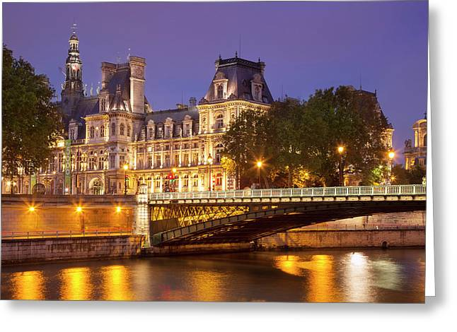 Twilight Over Hotel De Ville And River Greeting Card by Brian Jannsen