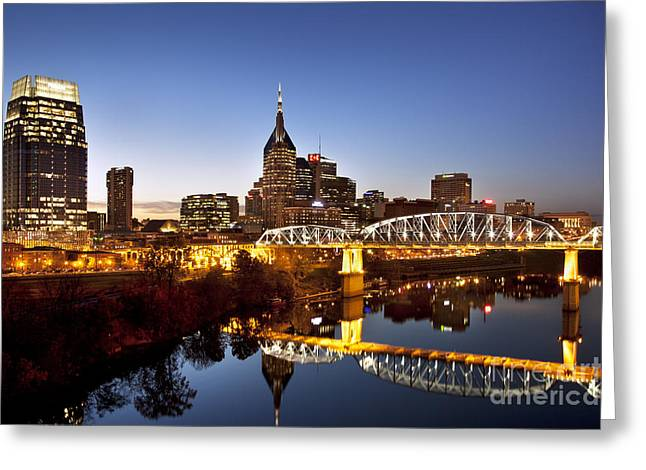 Cumberland River Greeting Cards - Twilight over Nashville Tennessee Greeting Card by Brian Jannsen