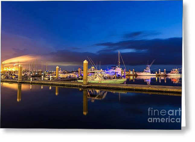 Beach At Night Greeting Cards - Twilight Over the Marina Fernandina Beach Florida Greeting Card by Dawna  Moore Photography