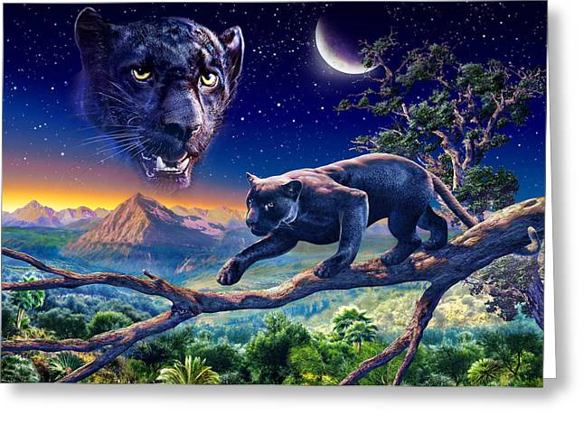 Puzzles Greeting Cards - Twilight Panther Greeting Card by Adrian Chesterman