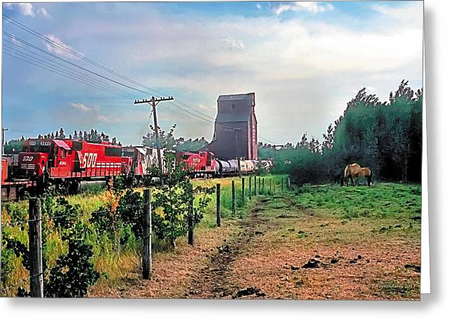 Trains Paintings Greeting Cards - Twilight Pasture 2 Greeting Card by Terry Reynoldson