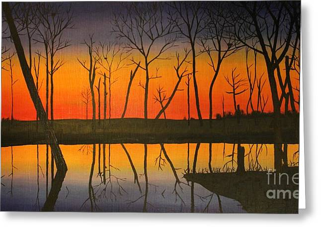 Indiana Autumn Paintings Greeting Cards - Twilight Reflections Greeting Card by Lee Alexander